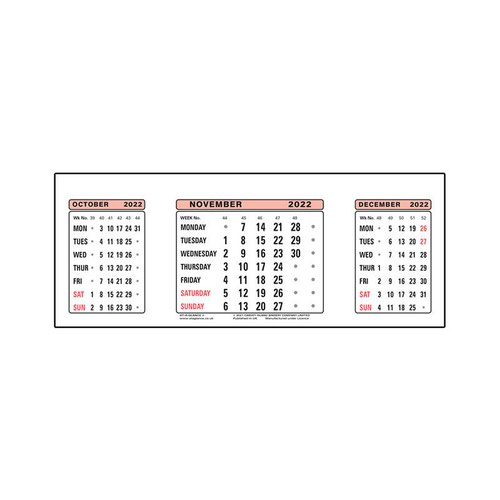 At-A-Glance 2022 Refill Dates for Three Months to View Desk Calendar 210x80mm White Ref 3SR 2022