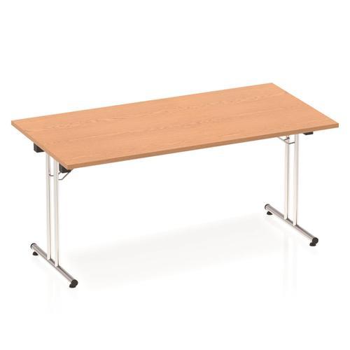 Sonix Rectangular Chrome Leg Folding Meeting Table 1600x800mm Oak Ref I000797