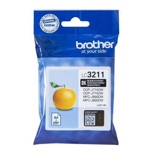 Brother Inkjet Cartridge Page Life 200pp Black Ref LC3211BK
