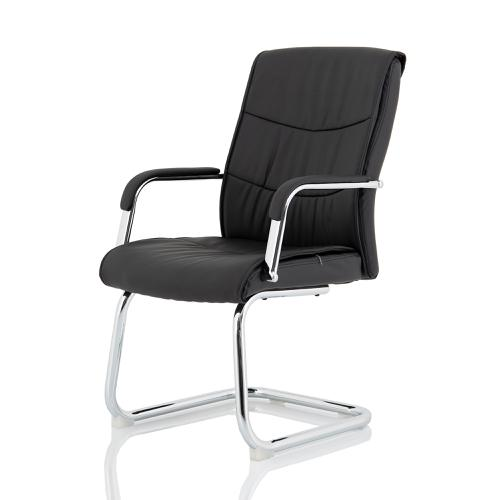 Trexus Carter Black Luxury Faux Leather Cantilever Chair With Arms Ref BR000185