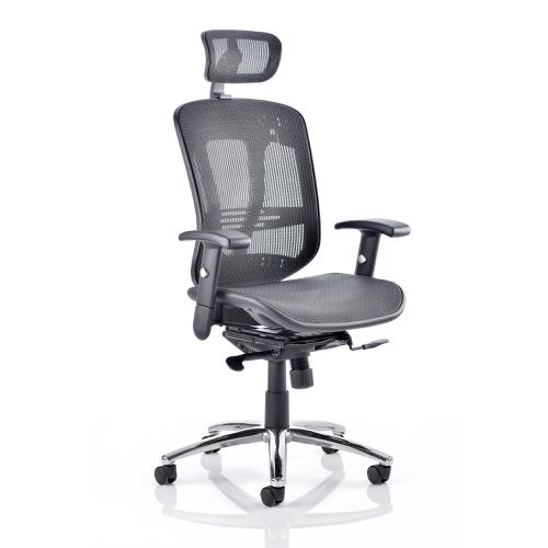 Adroit Mirage II Executive Chair With Arms With Headrest Mesh Black Ref KC0148