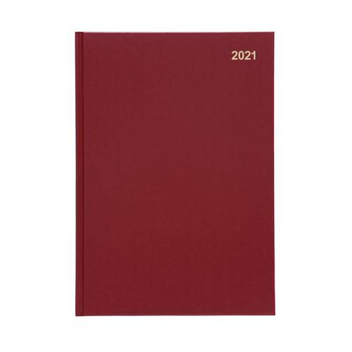 5 Star Office 2021 Diary Week to View Casebound and Sewn Vinyl Coated Board A4 297x210mm Red