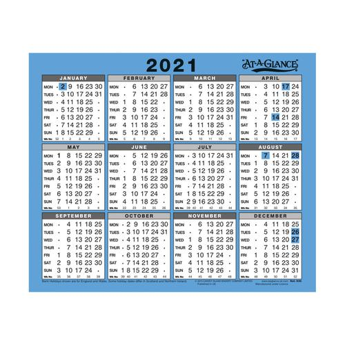 At-A-Glance 2021 Wall/Desk Calendar Year to View Gloss Board Binding 254x210mm White/Blue Ref 930 2021