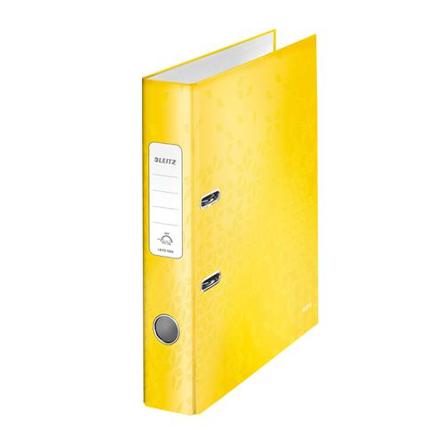 Leitz WOW Lever Arch File 80mm Spine for 600 Sheets A4 Yellow Ref 10050016 [Pack 10][REDEMPTION]Apr-Jun20