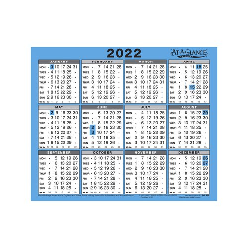 At-A-Glance 2022 Wall/Desk Calendar Year to View Gloss Board Binding 254x210mm White/Blue Ref 930 2022