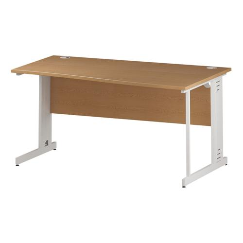 Trexus Wave Desk Right Hand White Cable Managed Leg 1600mm Oak Ref I002800