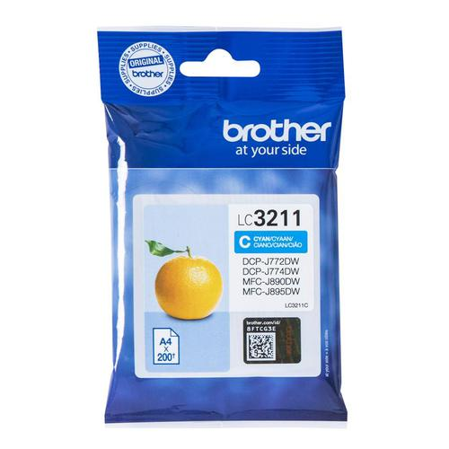 Brother Inkjet Cartridge Page Life 200pp Cyan Ref LC3211C