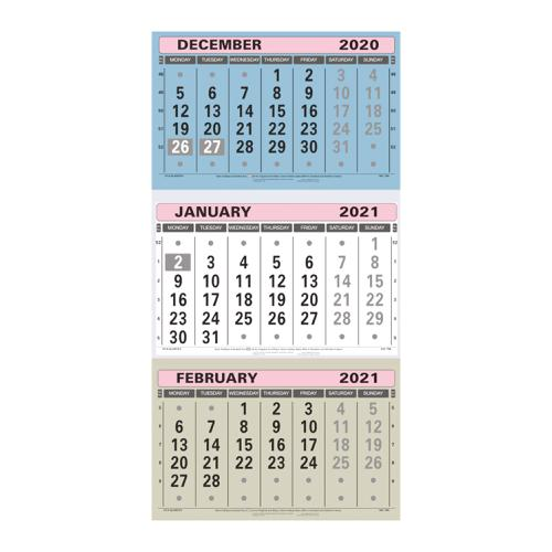 At-A-Glance 2021 Wall Calendar Three Months to View Board Binding 300x595mm Assorted Ref TML 2021