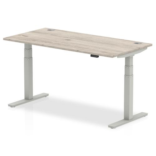 Trexus Sit Stand Desk With Cable Ports Silver Legs 1600x800mm Grey Oak Ref HA01173