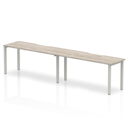 Trexus Bench Desk 2 Person Side to Side Configuration Silver Leg 3200x800mm Grey Oak Ref BE769