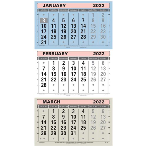 At-A-Glance 2022 Wall Calendar Three Months to View Board Binding 300x595mm Assorted Ref TML 2022