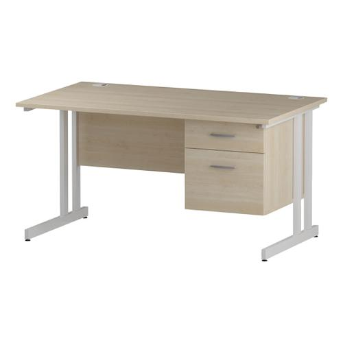 Trexus Rectangular Desk White Cantilever Leg 1400x800mm Fixed Pedestal 2 Drawers Maple Ref I002436