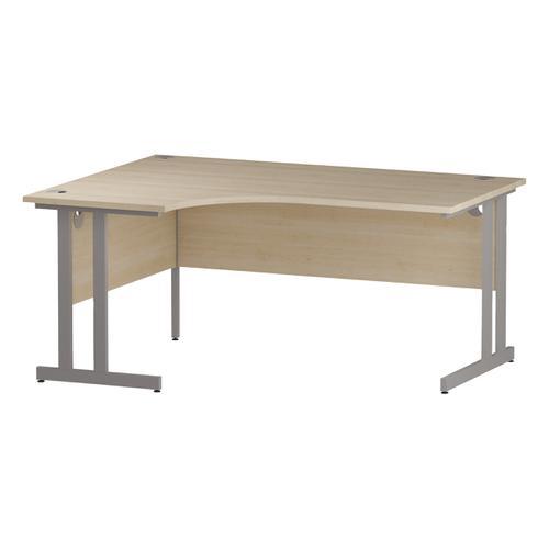 Trexus Radial Desk Left Hand Silver Cantilever Leg 1600mm Maple Ref I000365