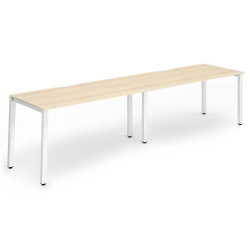 Trexus Bench Desk 2 Person Side to Side Configuration White Leg 2400x800mm Maple Ref BE356