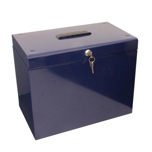 Metal File Box with 5 Suspension Files and 2 Keys Steel A4 Blue