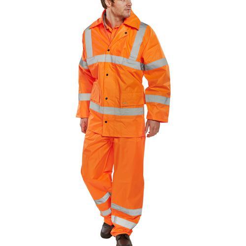 BSeen Hi-Vis L/Wt Suit Jkt/Trs EN ISO 20471 EN 343 2XL Orange Ref TS8ORXXL *Up to 3 Day Leadtime*