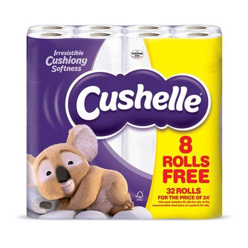 Cushelle Toilet Rolls 2-ply 180 Sheets White Ref 1102090 [Pack 24 Plus 8 FREE]