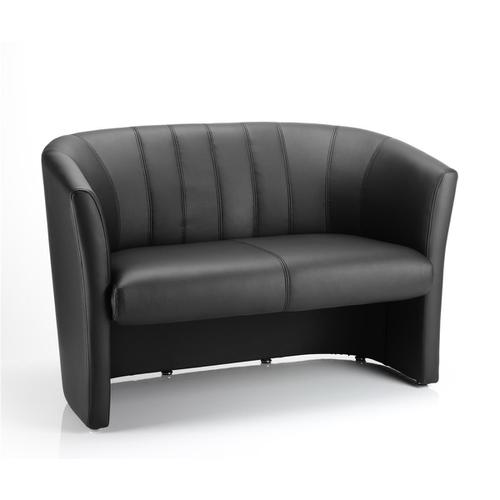 Trexus Tub 2 Seater Sofa Black Leather 970x510x460mm Ref BR000105