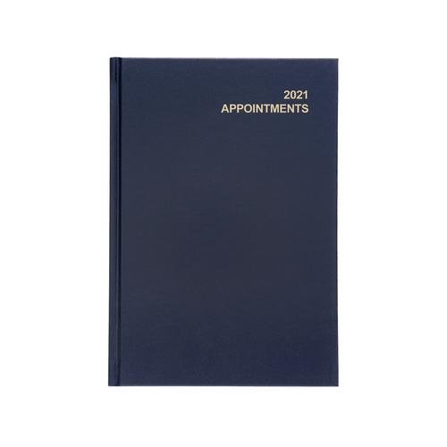 5 Star Office 2021 Appointment Diary Day to Page Casebound and Sewn Vinyl Coated Board A5 210x148mm Blue