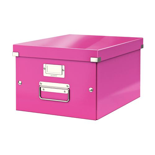 Leitz Click & Store Collapsible Storage Box Medium For A4 Pink Ref 60440023