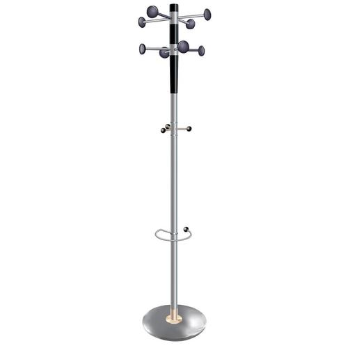 5 Star Facilities Decorative Coat Stand with Umbrella Holder 8 Pegs 3 Hooks Base 380mm Height 1840mm Grey by The OT Group, 162361