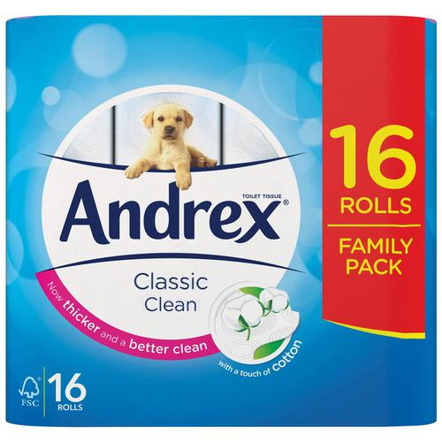 Andrex Classic Clean Toilet Rolls 2-ply 24.8m White Ref 1102122 [Pack 16]