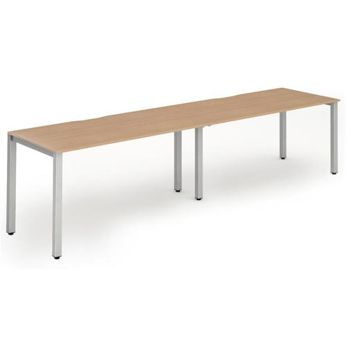 Trexus Bench Desk 2 Person Side to Side Configuration Silver Leg 2800x800mm Beech Ref BE377