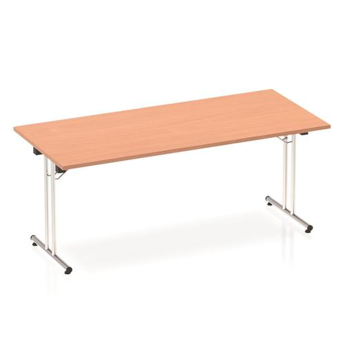 Sonix Rectangular Chrome Leg Folding Meeting Table 1800x800mm Beech Ref I000692