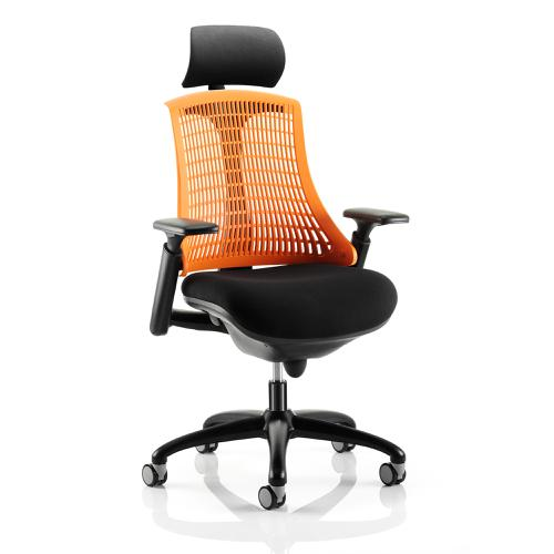 Trexus Flex Task Operator Chair With Arms And Headrest Blk Fabric Seat Orange Back Blk Frame Ref KC0107