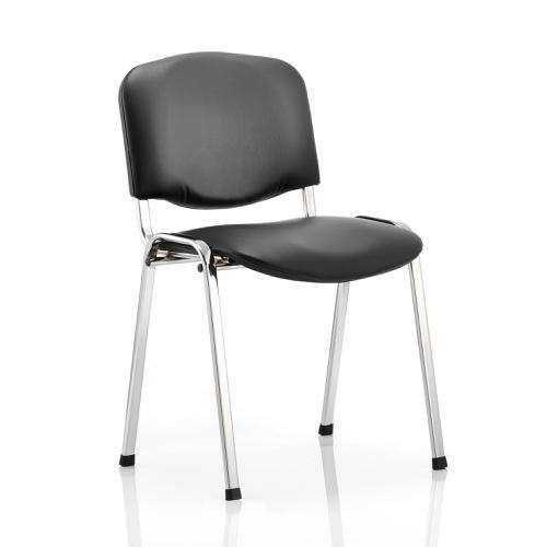 Trexus ISO Stacking Chair Without Arms Black Vinyl Chrome Frame Ref BR000071