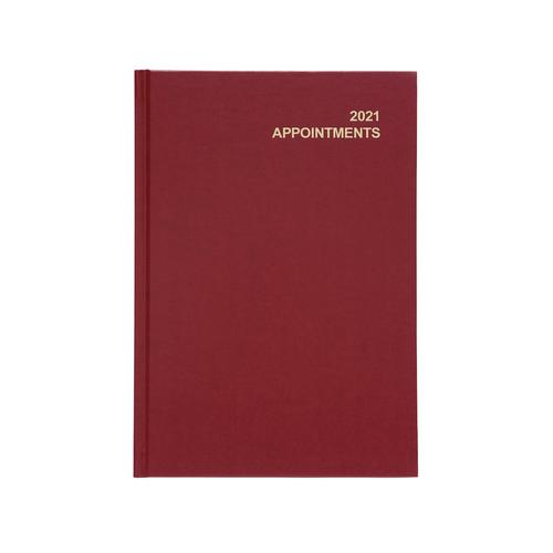 5 Star Office 2021 Appointment Diary Day to Page Casebound and Sewn Vinyl Coated Board A5 210x148mm Red