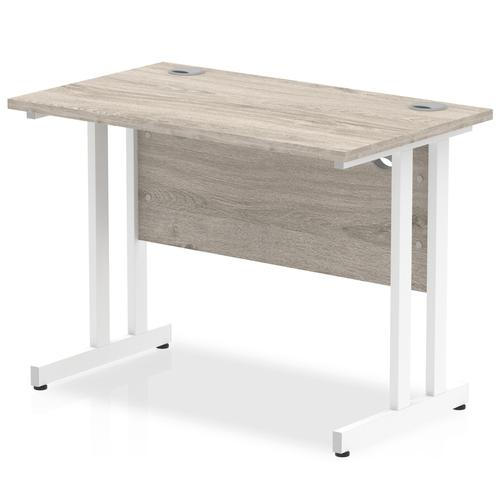 Trexus Rectangular Slim Desk White Cantilever Leg 1000x600mm Grey Oak Ref I003064
