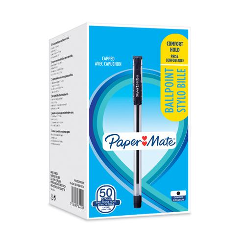 Paper Mate Ball Point Pen 0.7mm Capped Ergonomic Grip Black Ref 2084418 [Box 50]