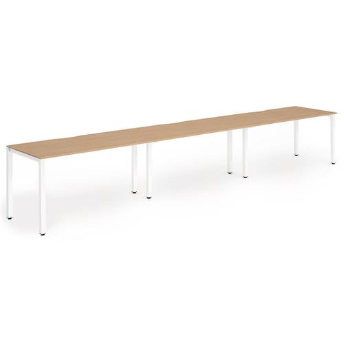 Trexus Bench Desk 3 Person Side to Side Configuration White Leg 4200x800mm Beech Ref BE397
