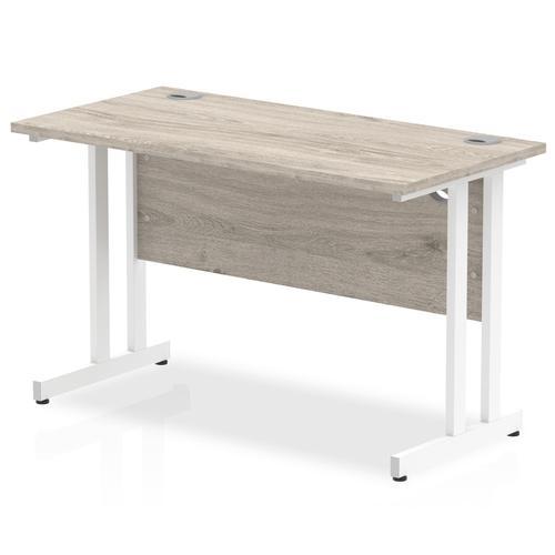Trexus Rectangular Slim Desk White Cantilever Leg 1200x600mm Grey Oak Ref I003068