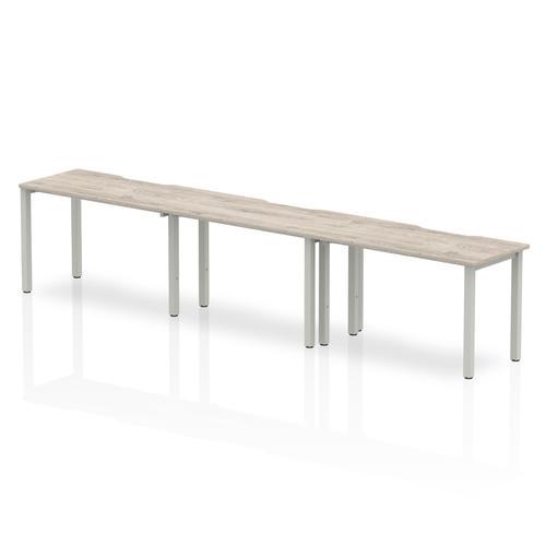Trexus Bench Desk 3 Person Side to Side Configuration Silver Leg 3600x800mm Grey Oak Ref BE771