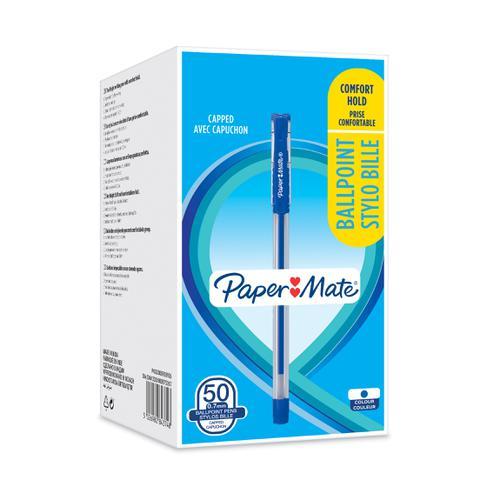 Paper Mate Ball Point Pen 0.7mm Capped Ergonomic Grip Blue Ref 2084374 [Box 50]