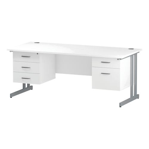 Trexus Rectangular Desk Silver Cantilever Leg 1800x800mm Double Fixed Ped 2&3 Drawers White Ref I002240