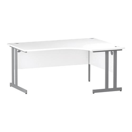 Trexus Radial Desk Right Hand Silver Cantilever Leg 1600mm White Ref I000322