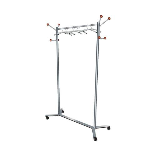 5 Star Facilities Coat Rack Mobile 4 Wheels 4 Pegs 4 Hooks Capacity of 36 Hangers 1200x500x1700mm Silver