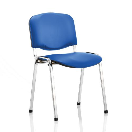 Trexus ISO Stacking Chair Without Arms Blue Vinyl Chrome Frame Ref BR000072