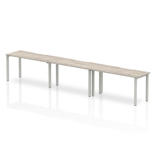 Trexus Bench Desk 3 Person Side to Side Configuration Silver Leg 4200x800mm Grey Oak Ref BE773