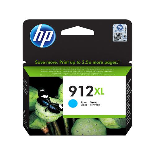 Hewlett Packard 912XL Inkjet Cartridge High Yield Page Life 825pp 9.9ml Cyan Ref 3YL81AE