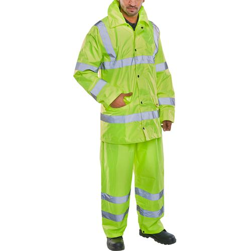 BSeen Hi-Vis L/Wt Suit Jkt/Trs EN ISO 20471 EN 343 6XL Saturn Yellow Ref TS8SY6XL *Up to 3 Day Leadtime*