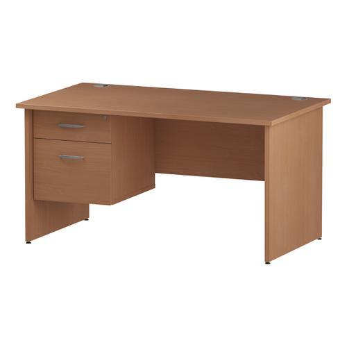 Trexus Rectangular Desk Panel End Leg 1400x800mm Fixed Pedestal 2 Drawers Beech Ref I001734