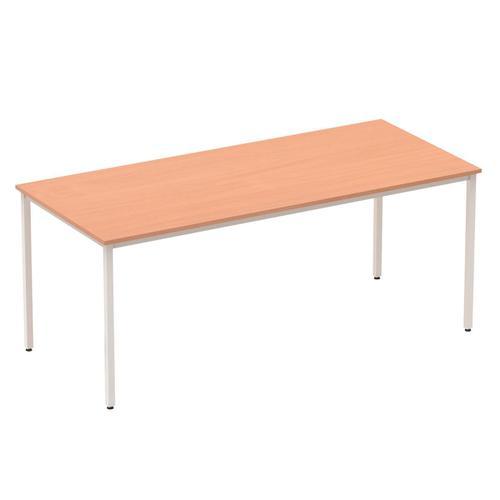 Trexus Rectangular Box Frame Silver Leg Table 1800x800mm Beech Ref BF00105
