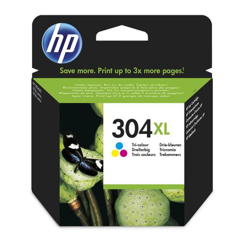 Hewlett Packard [HP] No.304XL Inkjet Cartridge High Yield Page Life 300pp 7ml Tri-Colour Ref N9K07AE