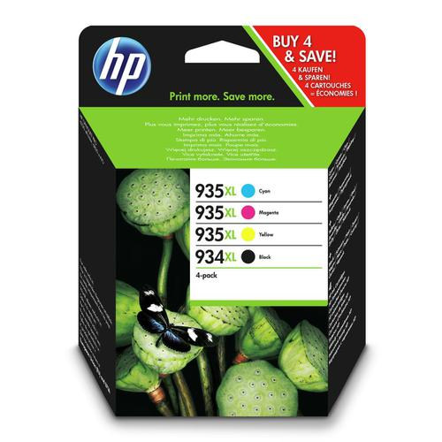 Hewlett Packard[HP] No.934XL/935XL IJCartPageLife 1000pp25.5ml Blk C/M/Y 825pp 9.5ml Ref X4E14AE [Pack 4]