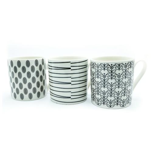 Squat Mugs Patterned 12oz Black & White Ref 0399290 [Pack 12]