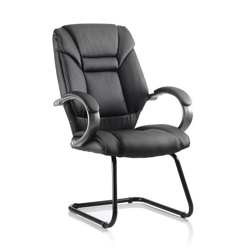 Trexus Galloway Cantilever Chair With Arms Leather Black Ref KC0119